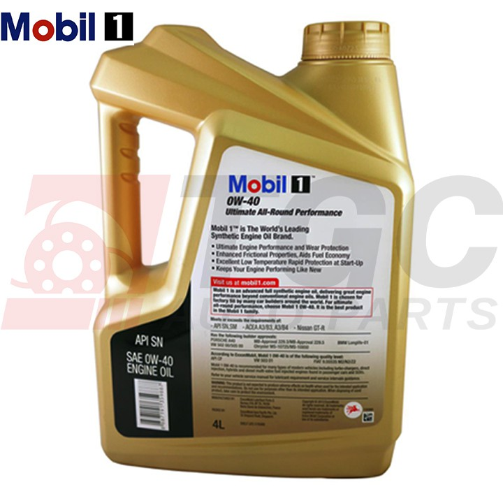 Mobil 1 0w 40 Full Synthetic Motor Oil 4l Shopee Philippines