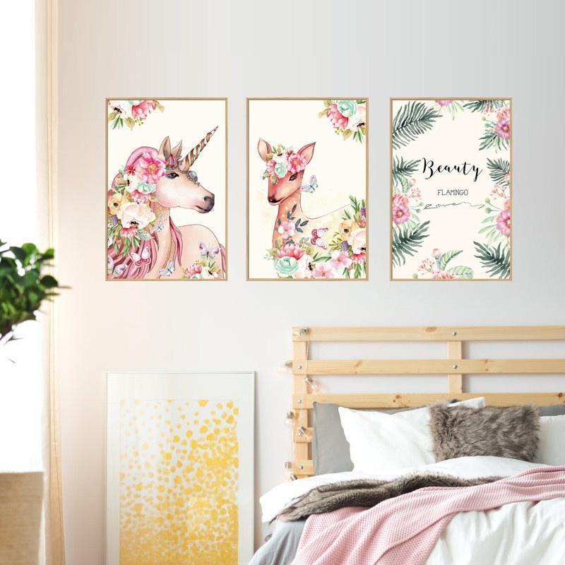 60 90cm Diy Unicorn Deer Photo Frame Decoration Flower Creative Art Mural Room Decor Shopee Philippines