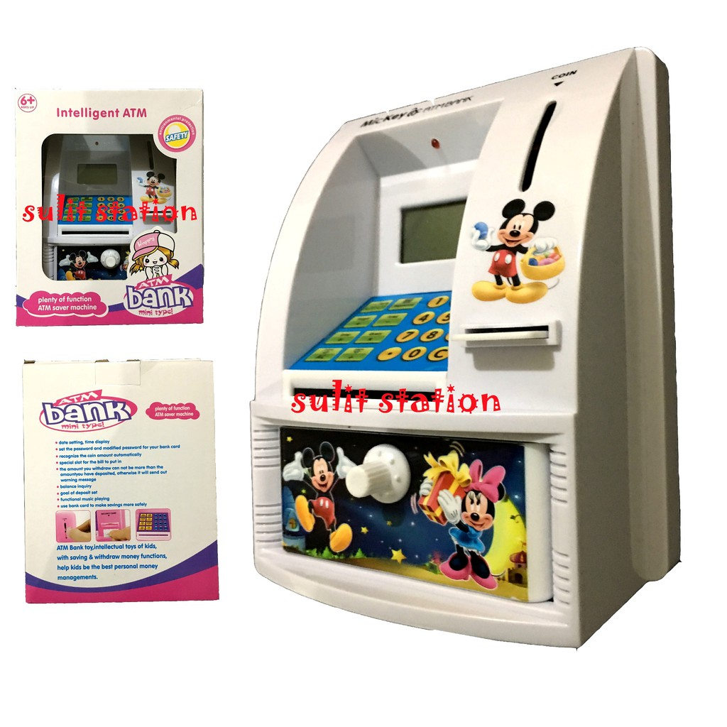 MICKEY MOUSE ATM SAVER COIN MONEY BANK MACHINE with PASSWORD