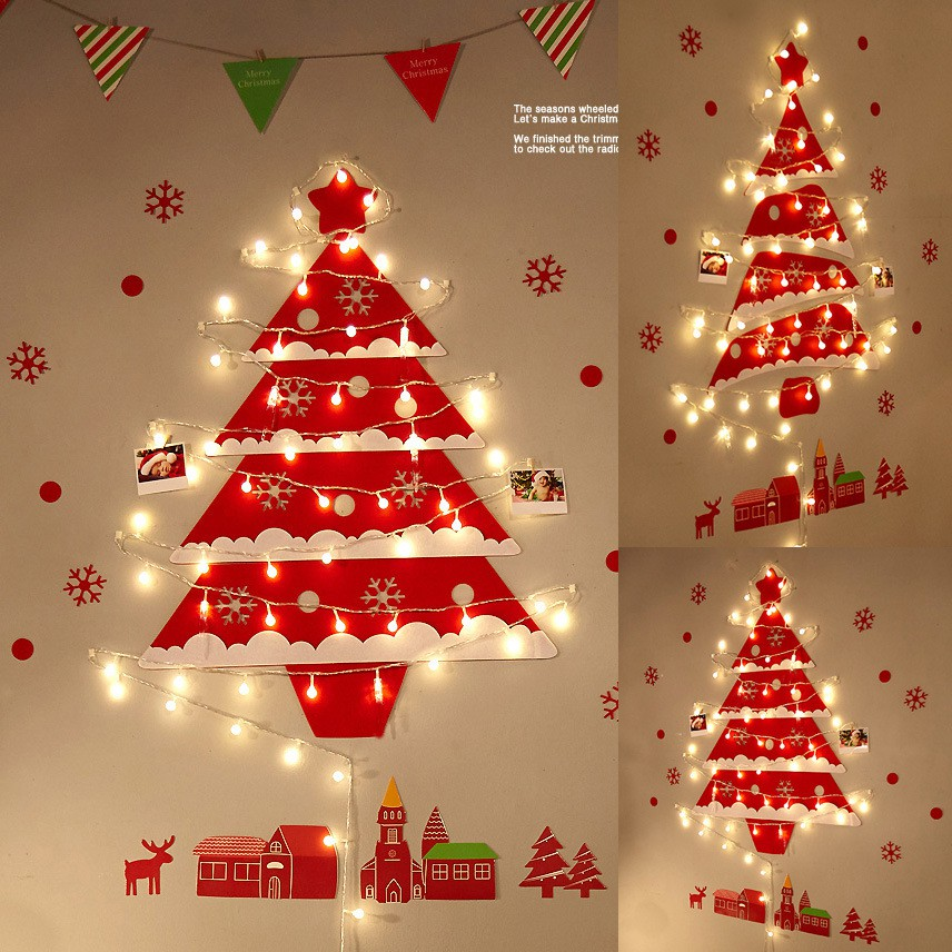 Wall Christmas Tree Ornaments Glow In The Dark Wall Felt Chr Shopee Philippines