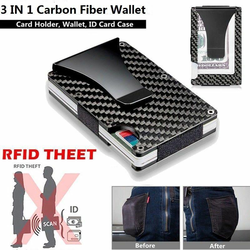 Scanner Guard Secure Cash and Card Holder Slim RFID Blocking Carbon Wallet