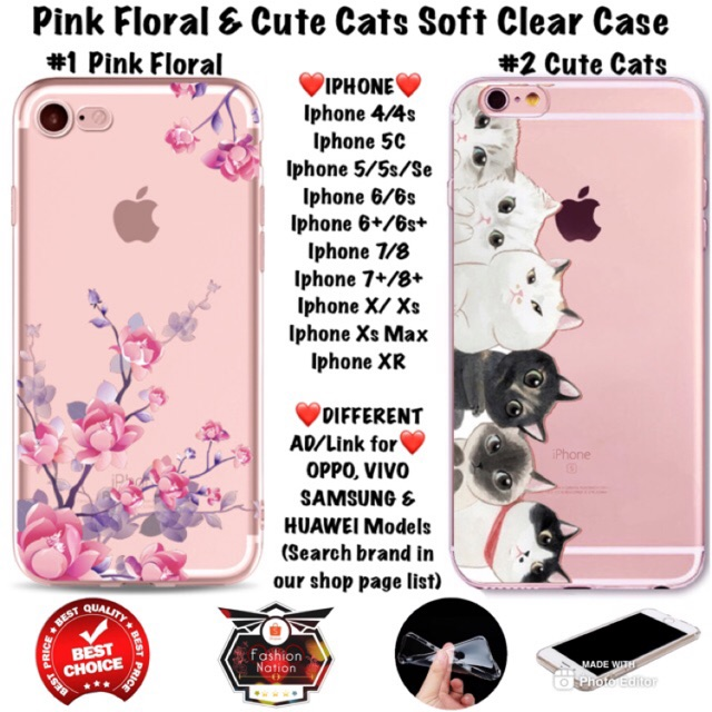 best sneakers 909cd 44032 Floral Cute Cats iPhone Case 4 4s 5c 5 5s Se 6 6s 7 8 Plus X Xr Xs Max vivo  oppo huawei