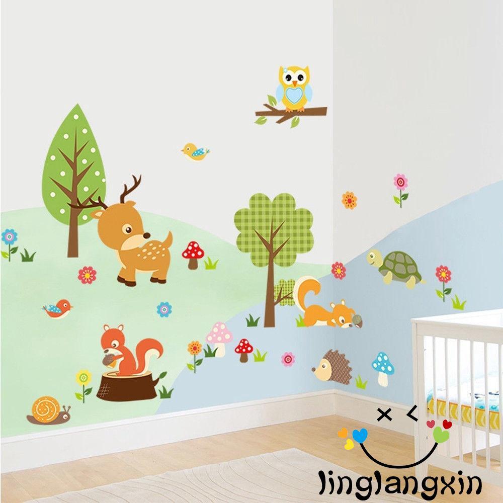 Cute Removable Waterproof Cartoon Animal Owl Wall Sticker Kids Room Decals+/%