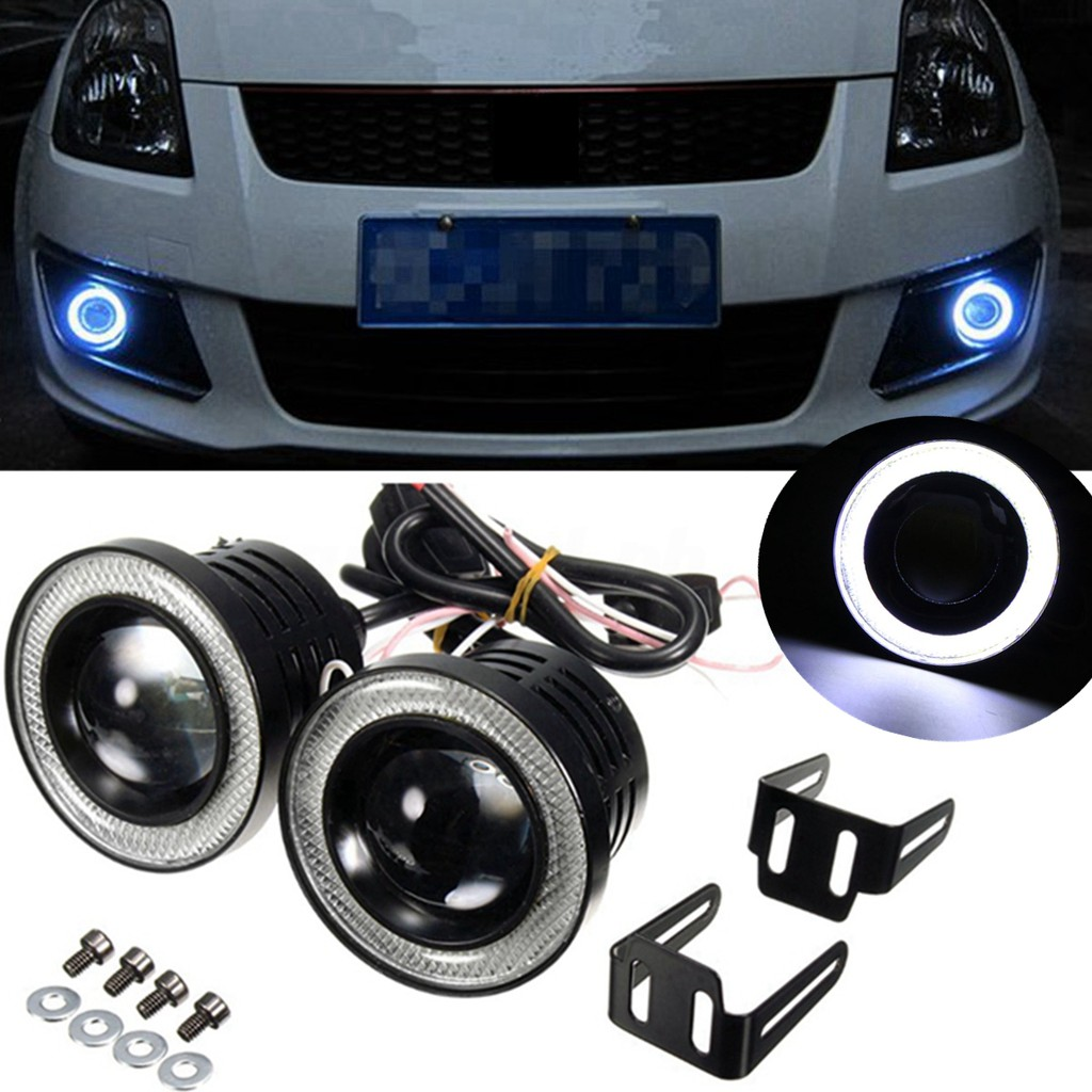 "2PCS 2.5/"" COB LED Fog Light Projector Car White Angel Eyes Halo Ring DRL Lamp R"