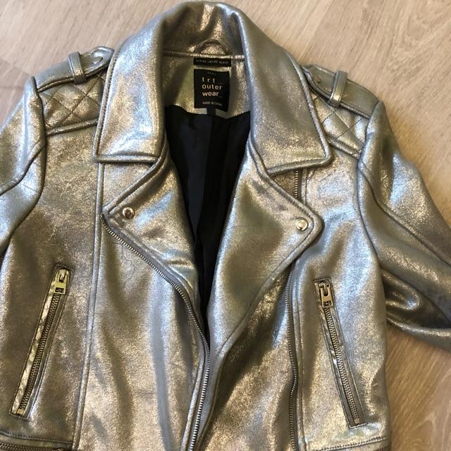 557f81537 Silver leather ZARA moto jacket blazer coat winter summer