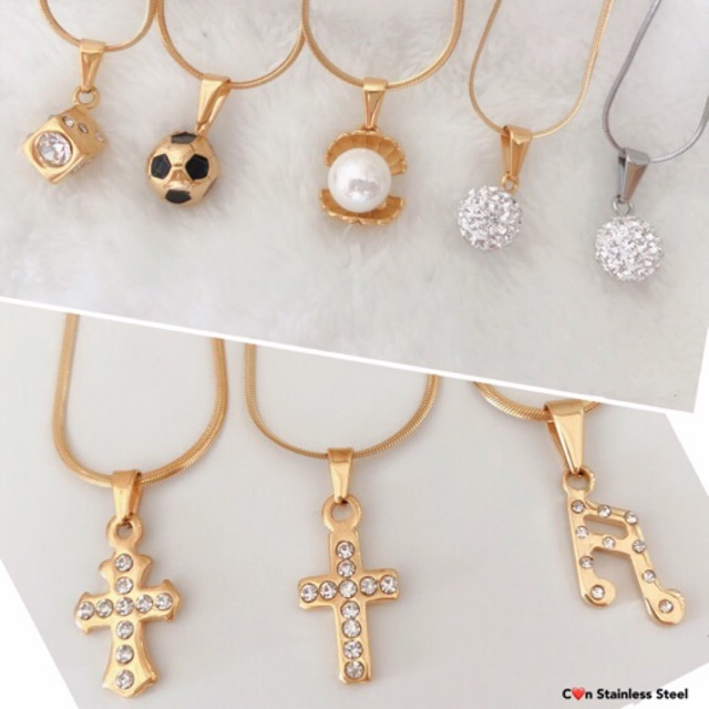 Balls, Pearl,Dice and Cross Stainless Necklaces and Pendants Women's  Jewelry Fashion Accessories