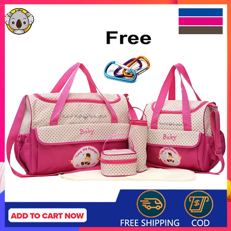 5 PCS/ 1 SET BABY DIAPER SLING BAG 5 IN 1 MOMMY AND BABY Sling Bag for SALE!