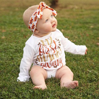 Happy Thanksgiving Newborn Baby Boy Girl Letter Print Romper Playsuit Top Outfit