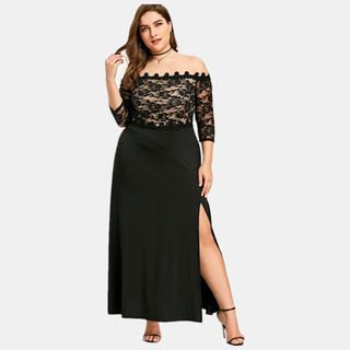 Women Plus Size Off Shoulder Lace Elegant Evening Maxi Dress ...