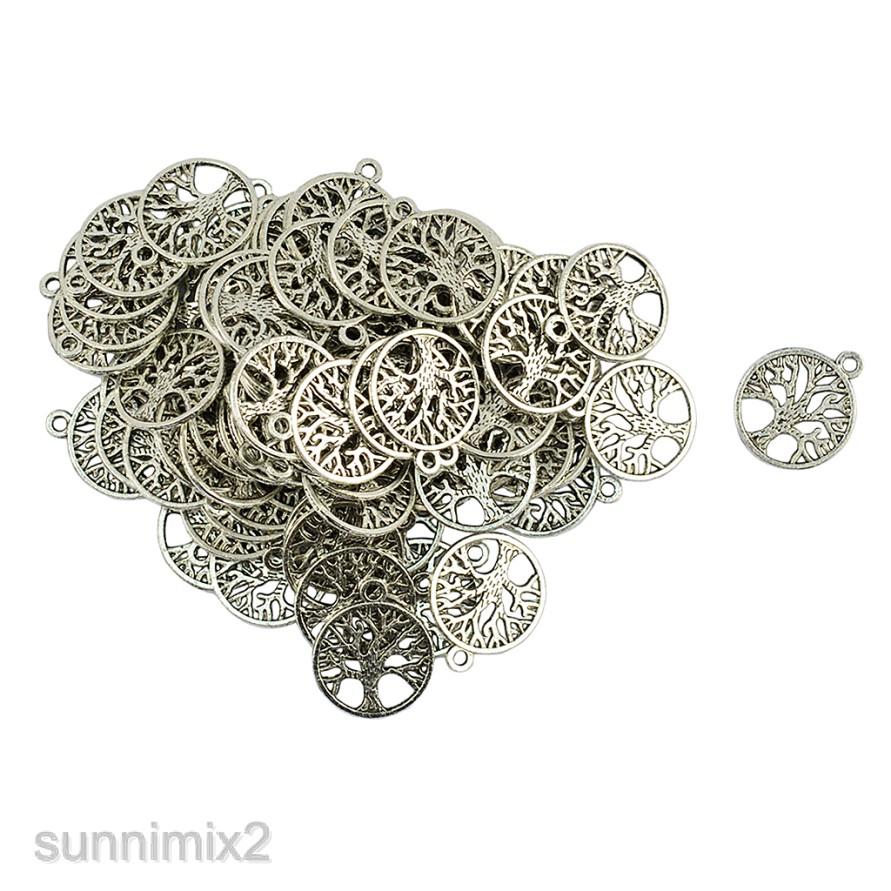 50pcs Tibetan Silver Tree Of Life Charms Pendants Beads Jewelry Findings