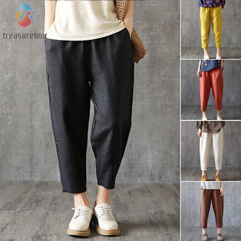 Ladies Pants Beach Elastic Waistband Baggy Pants Party Solid Plus size