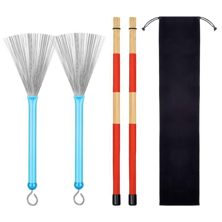 TOOGOO R Red 1 Pair 40CM Bamboo Rod Drum Brushes Sticks for Jazz Folk Music