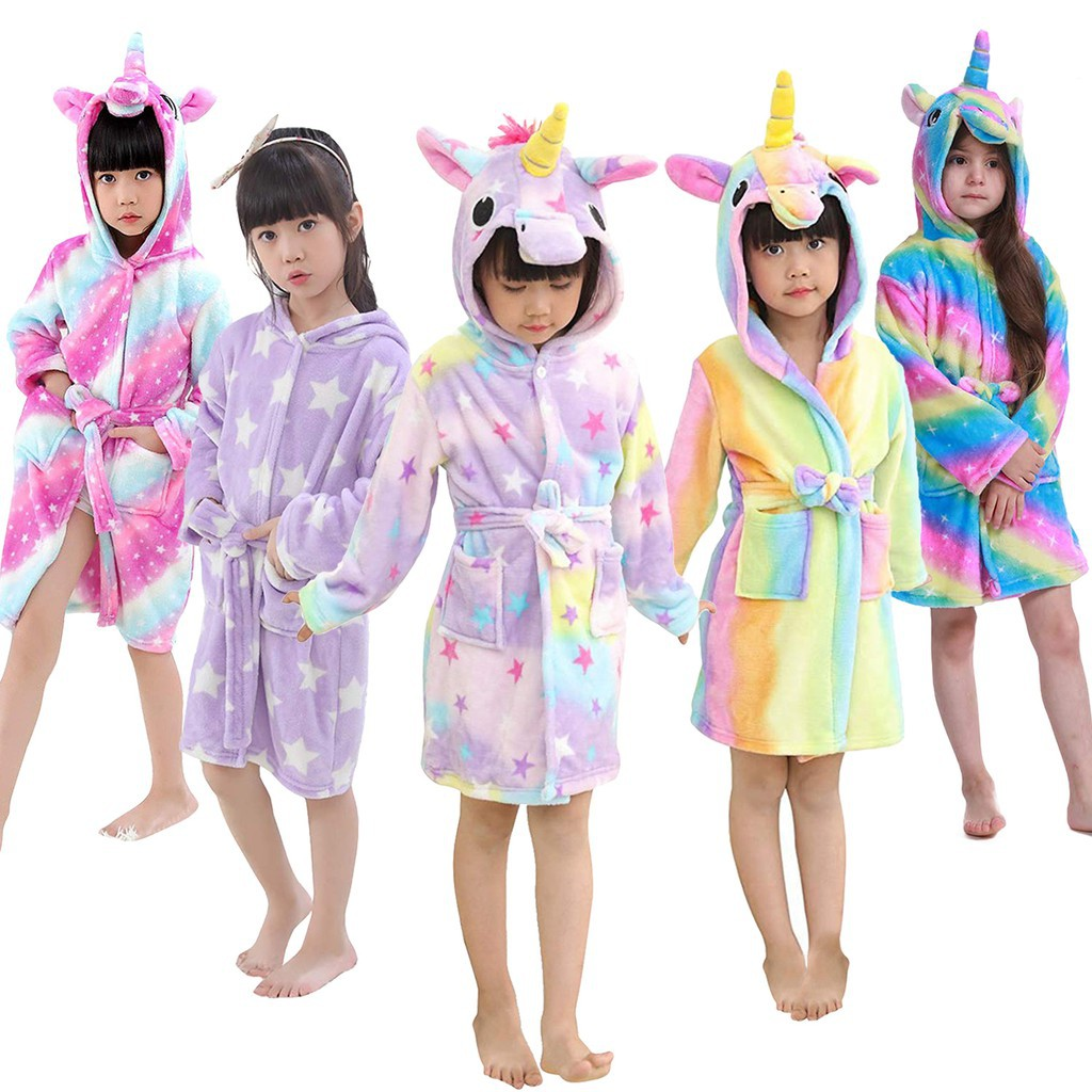 Kids Girls Unicorn Pajama Bathrobe Flannel Hoodie Sleepwear Toddler Infant Nightwear Christmas Theme Party Costume Shopee Philippines