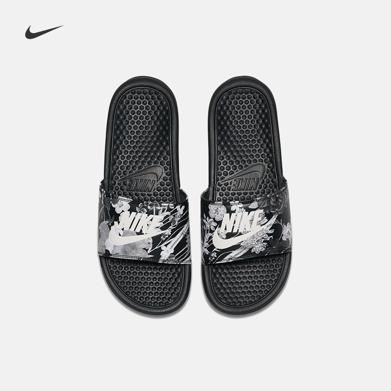huge discount 6c279 d3b6a NIKE WMNS BENASSI JDI Black and White Stitching Slippers   Shopee  Philippines