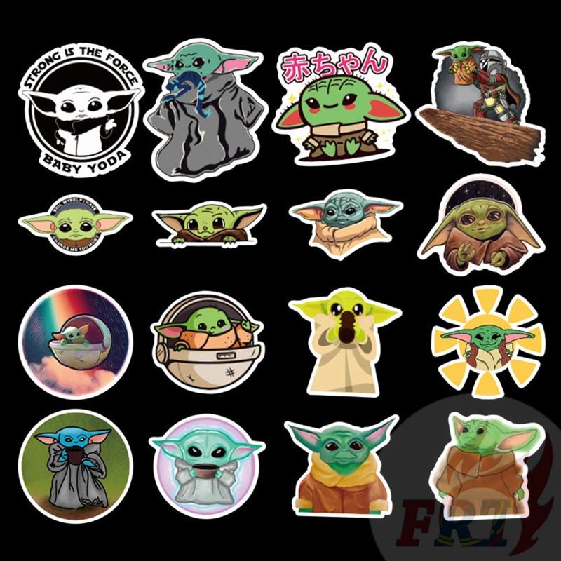 50pcs The Mandalorian Star Wars Baby Yoda Mixed Vinyl Sticker Skateboard Laptop
