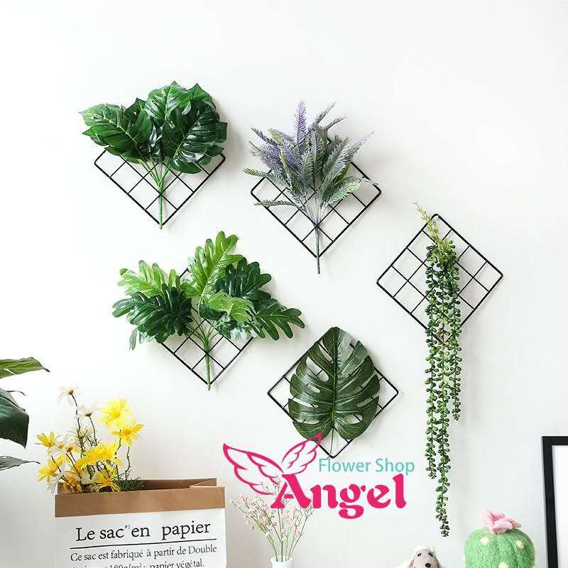 Black Grid With Flowers Wall Decor Fake Flowers Frame