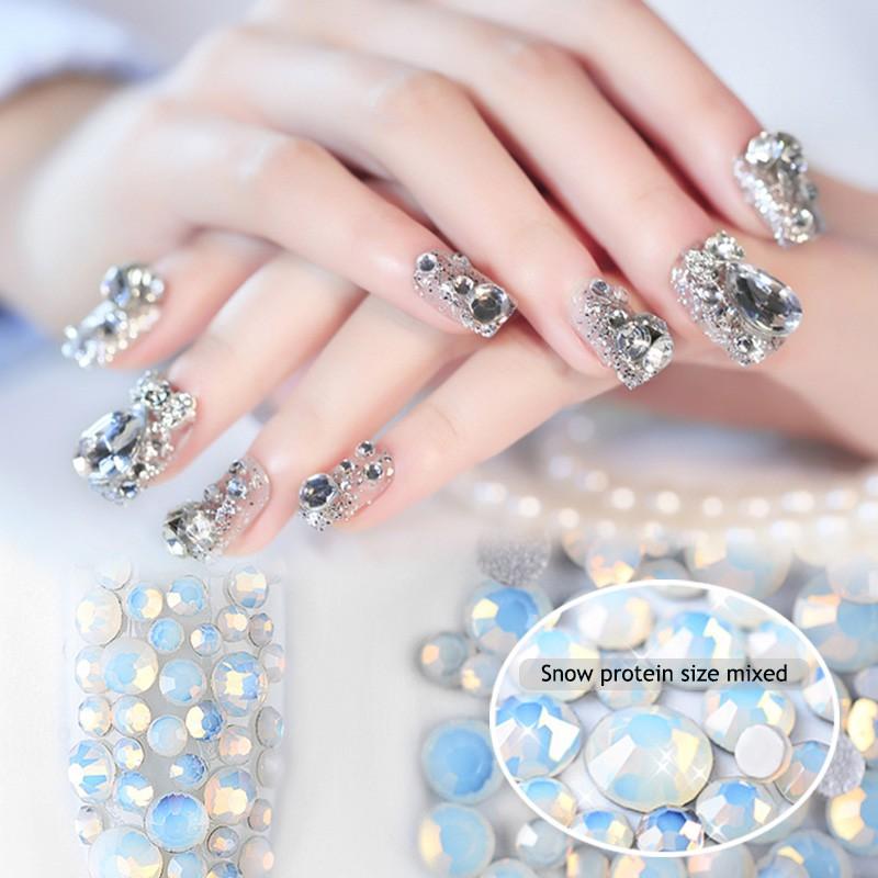 d4a113f8cd 800 Pcs Superb Mix Sizes Nails Crystal Clear AB Non Hotfix Flatback  Rhinestones