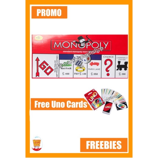 MONOPOLY BOARD GAME FREE UNO CARDS