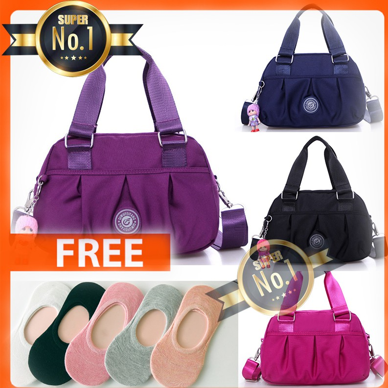 SUPER NO.1☆ #049 2 Way's Waterproof Sling Bag/Hand Bag with free Colorful Socks Cotton Women Socks