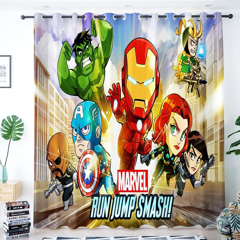 Yps Cartoon Marvel Superhero Spiderman Iron Man Kids Room Bedroom Blackout Curtains Shopee Philippines