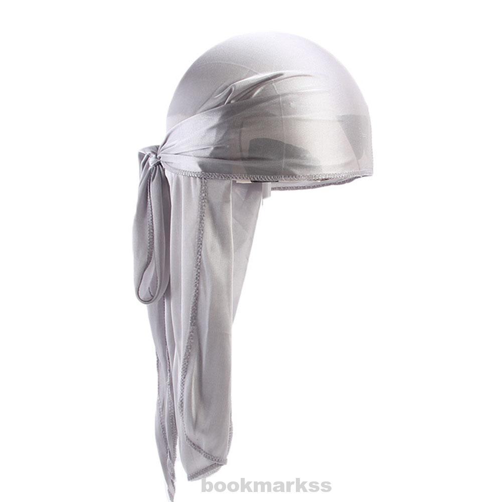 Long Tail Thin Elastic Durags Turban Hat Silky Biker Headwear Satin Stretchable Cap for Men Women Durags Bandana