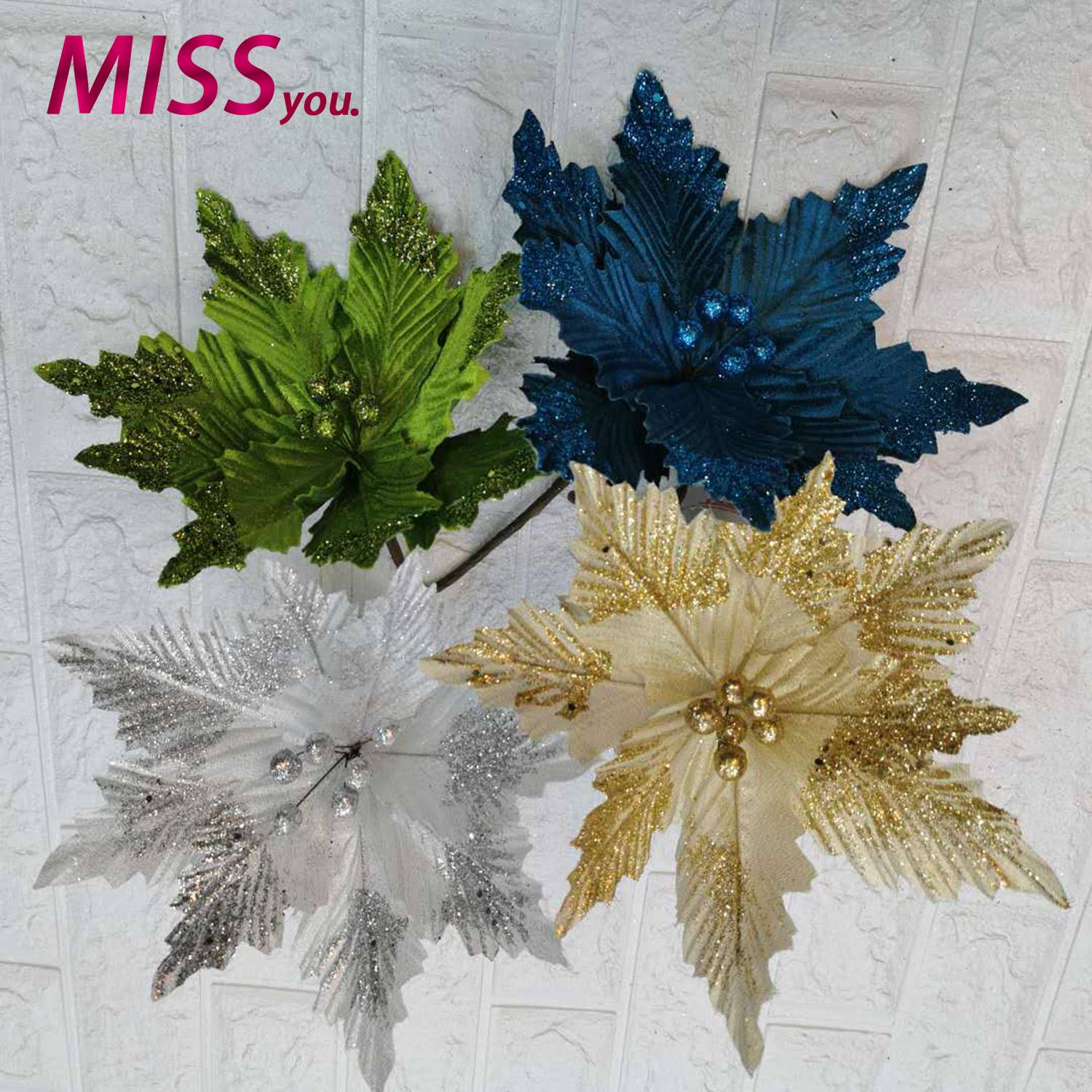 My 1pcs Christmas Tree Decor Flower Red Gold Blue Green Silver Navy Blue Color Petal Decoration Shopee Philippines