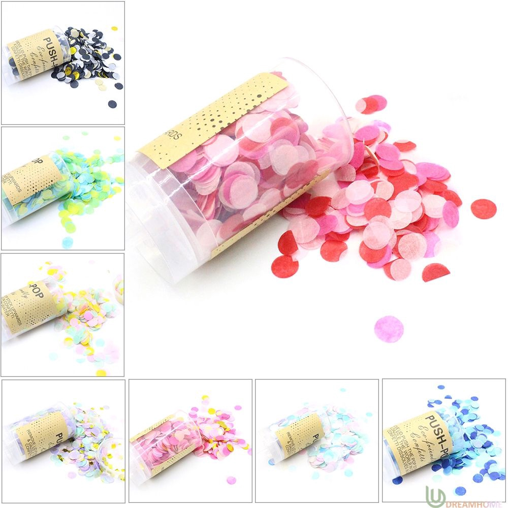 Push-Pop Confetti Round Shape Flower Paper Wedding Home Decoration Party Favors