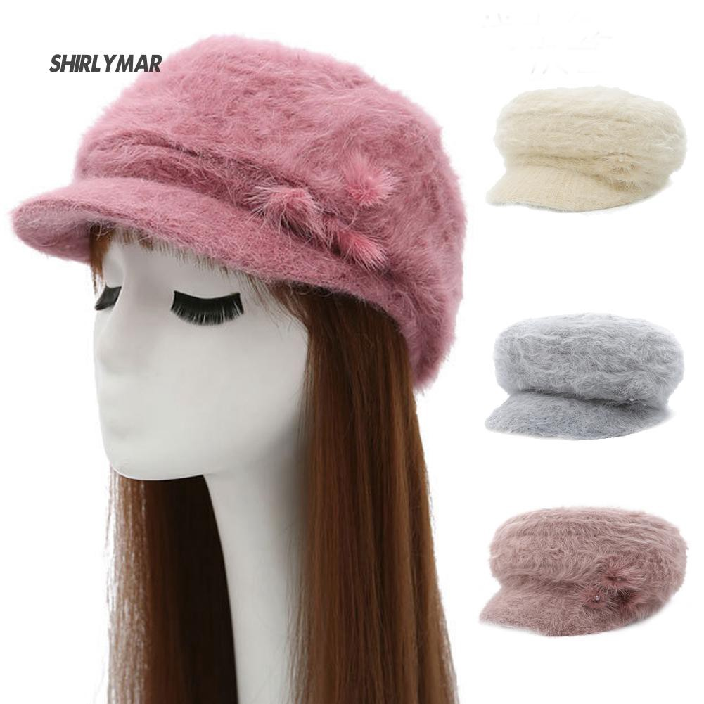 4f9df9258b6320 ஐSr Women Beret Peaked Cap Solid Color Faux Fur Beading Fluffy ...