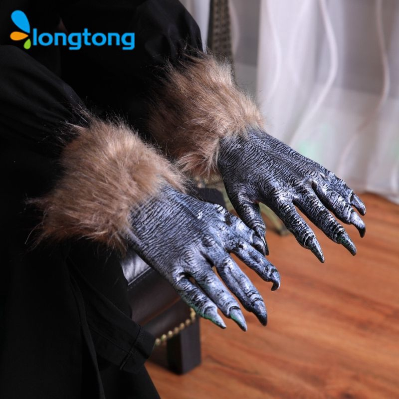 LADIES BLACK GLOVES WITH WHITE NAILS HALLOWEEN FANCY DRESS ACCESSORY LH