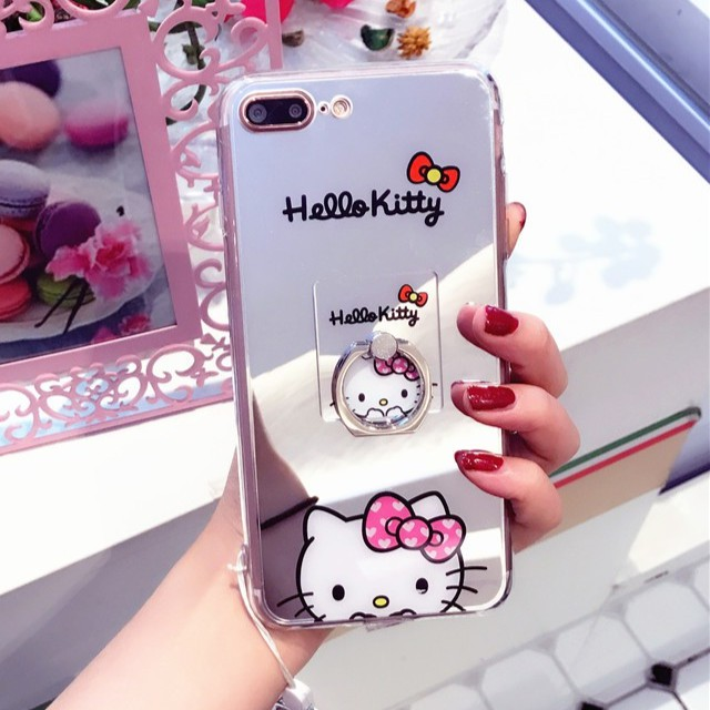Oppo F1s A37 A57 Hello Kitty Mirror Case With Ring Holder