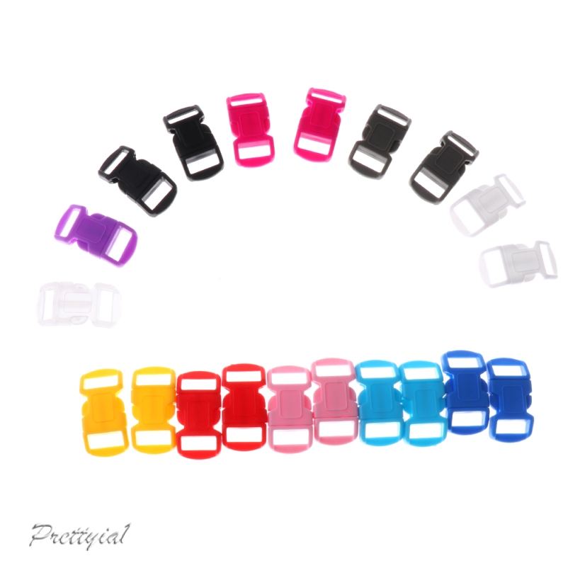 40pcs 10mm Mixed Curved Side Release Plastic Buckle for Paracord Bracelet