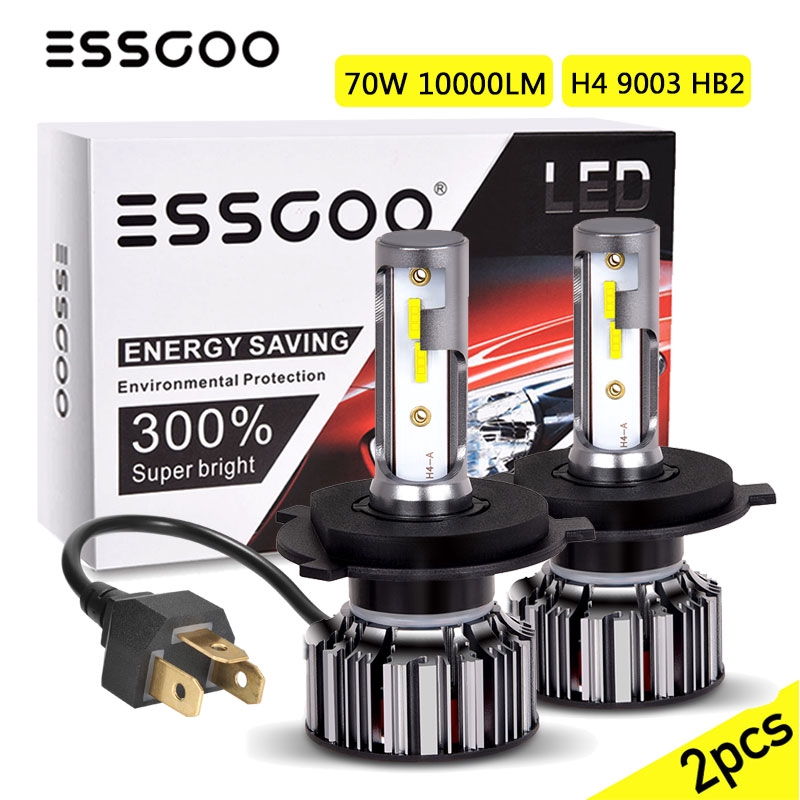 6000K Cool White 80W 12000LM Dual Hi//Lo Beam Extremely Bright H4//9003//HB2 4-Sided LED Headlight Bulbs All-in-One Conversion Kit