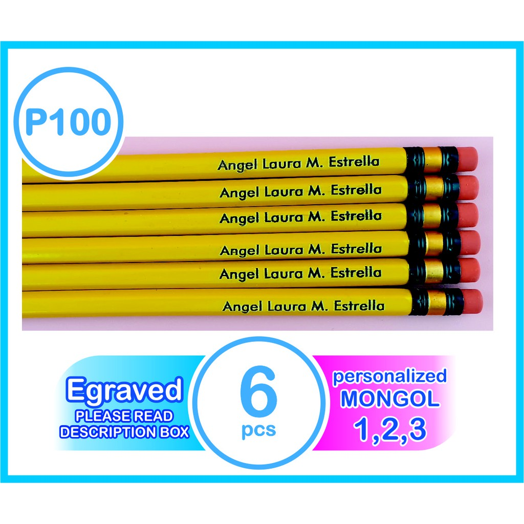 MONGOL PENCIL NO 1,2,3 6PCS PER ORDER #PERSONALIZED