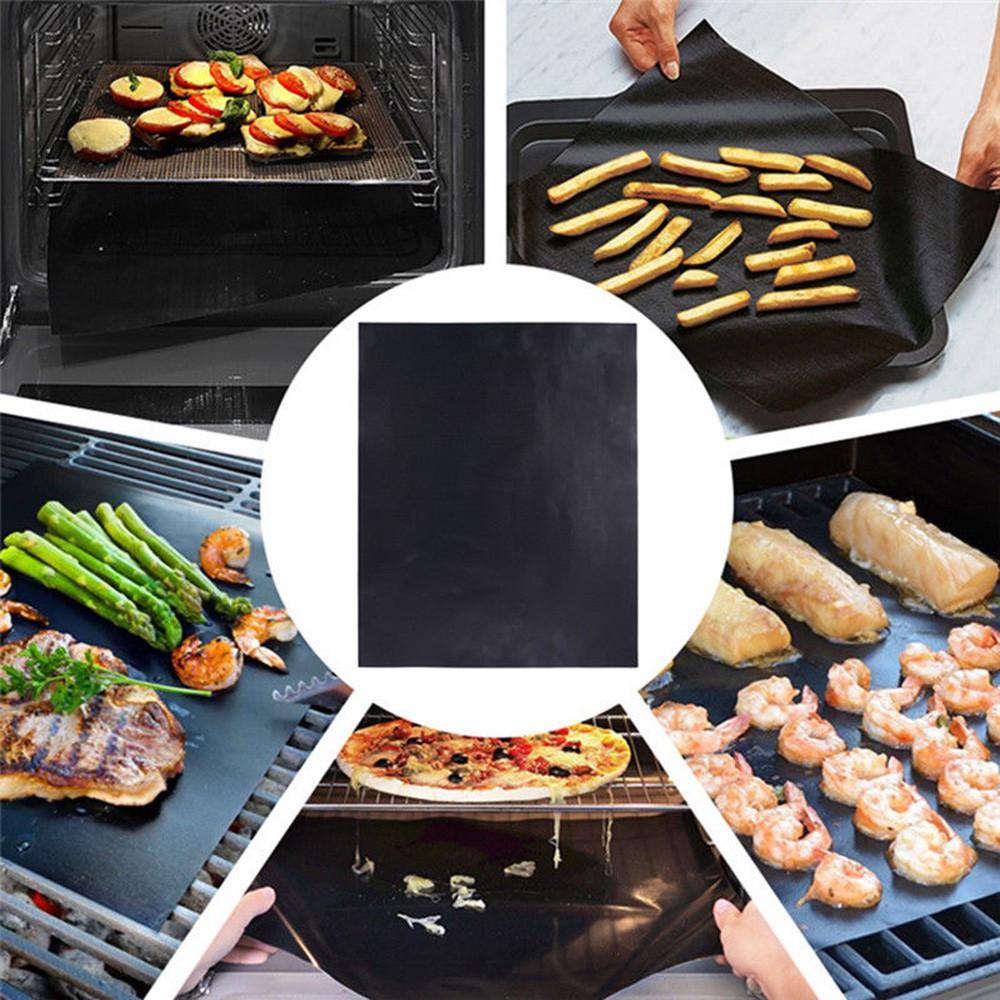 3Pcs BBQ Grill Mesh Mat Teflon Reusable Sheet Resistant Non-Stick Barbecue Bake