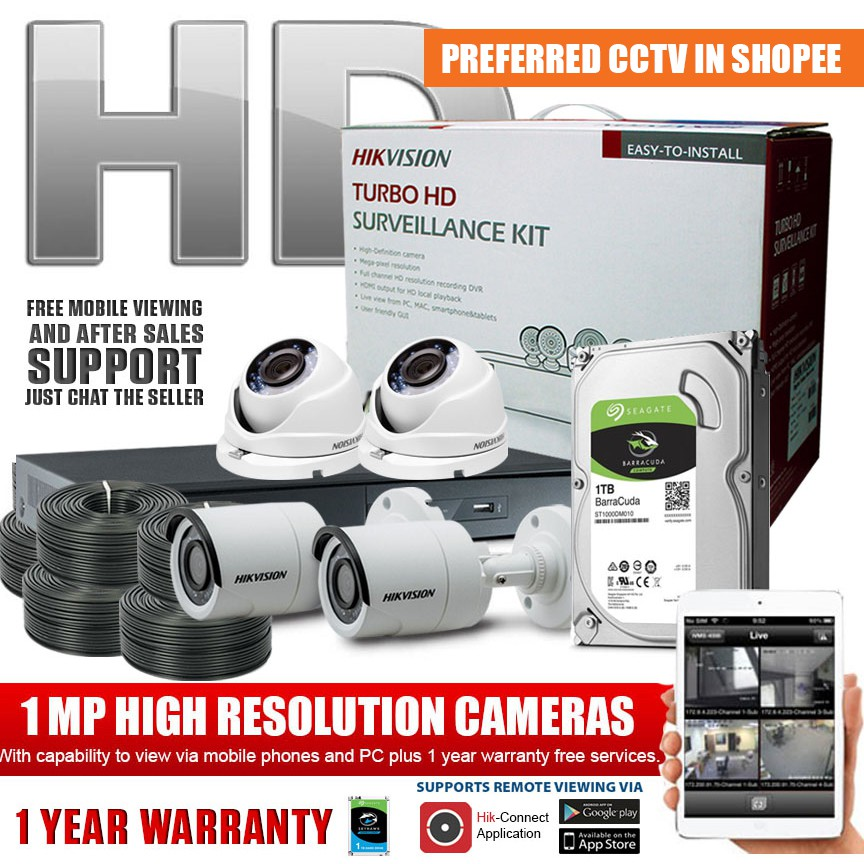 Hikvision 4ch 1MP HD CCTV Package DIY Kit with 1TB HDD