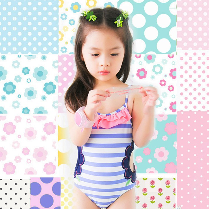 Toddler Girls Summer One Piece Swimwear Ruffle Sleeves Cotton Polyester Material