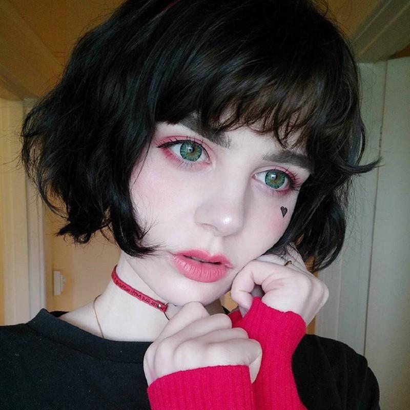 Short Curly Hair Bobo Head Buckle Cute