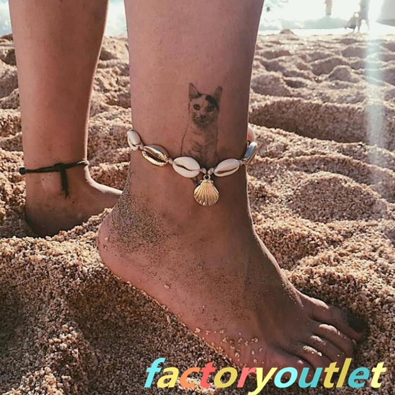 """11/"""" Women Blue Bead Sea Shell Star Anklet Beach Sandal Ankle Bracelet Gift AD"""