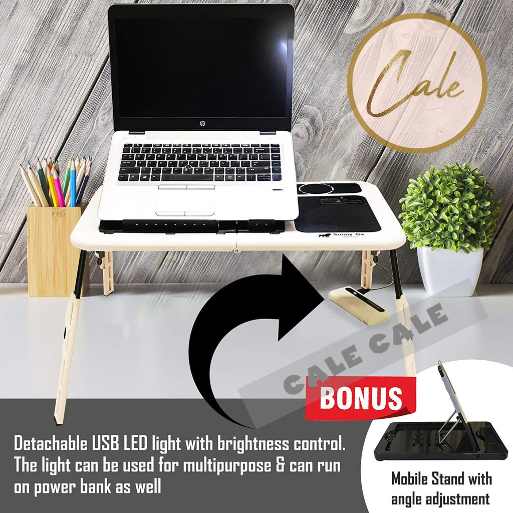 Folding Laptop Desk for Bed with Slot Anti-Skid and Anti-Tilt 60*36*28CM US