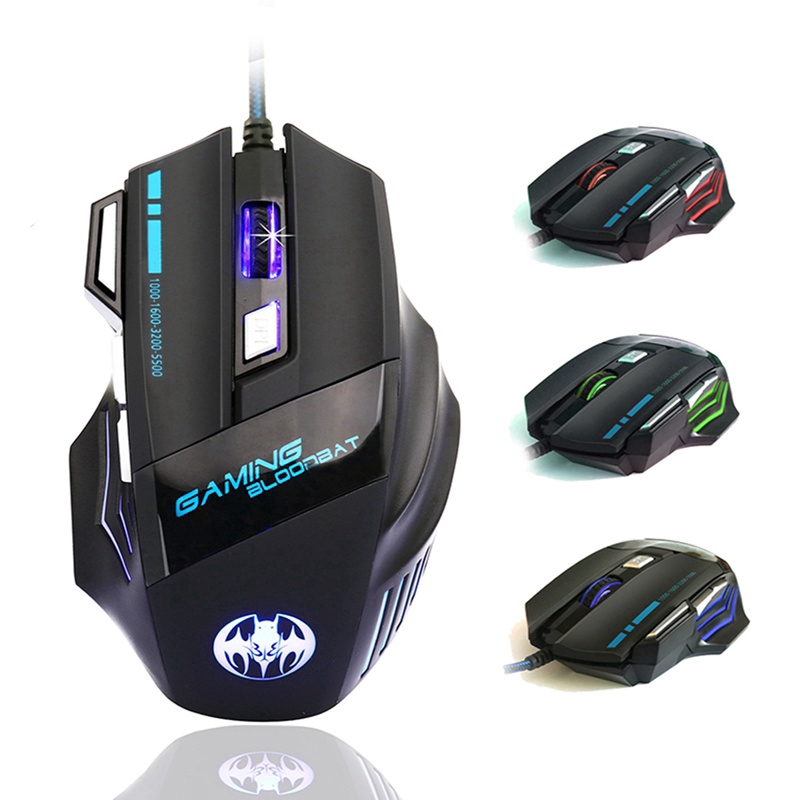 5500DPI Optical Professional Gaming Mouse LED 7 Buttons PC Gaming Mice