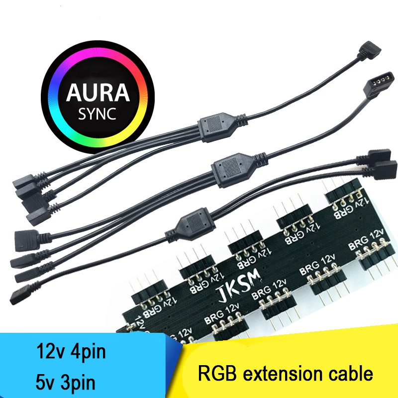 Asus Aura motherboarad rgb 4pin extension cable 1to 3 cables