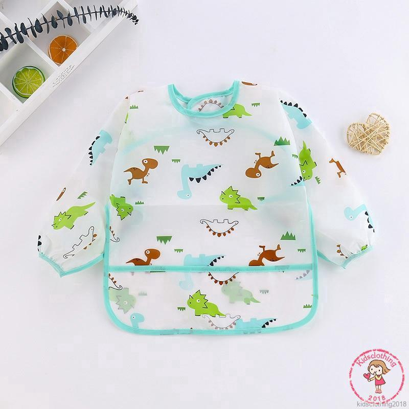 Toddler Smocks Eating Apron Short Sleeve Bib Waterproof Smock Washable Soft Bib for Baby Feeding Eating Painting 2-3T