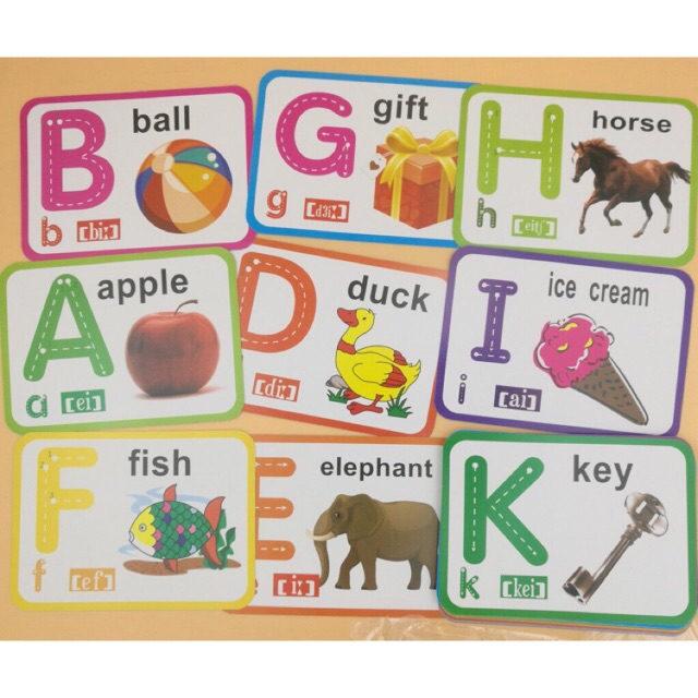 Children educational flash cards ABC and number