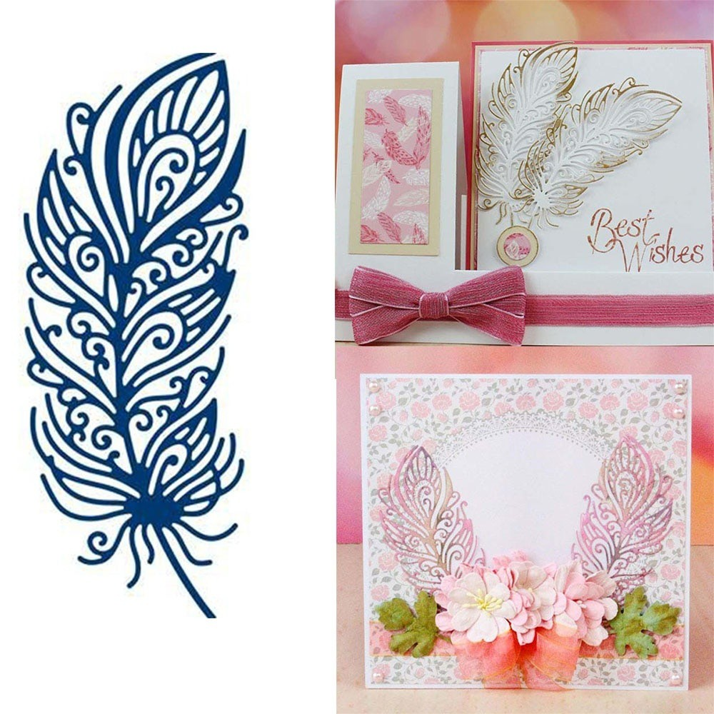 Feather Metal Cutting Dies Scrapbooking Album Stencil Embossing Paper Card Craft