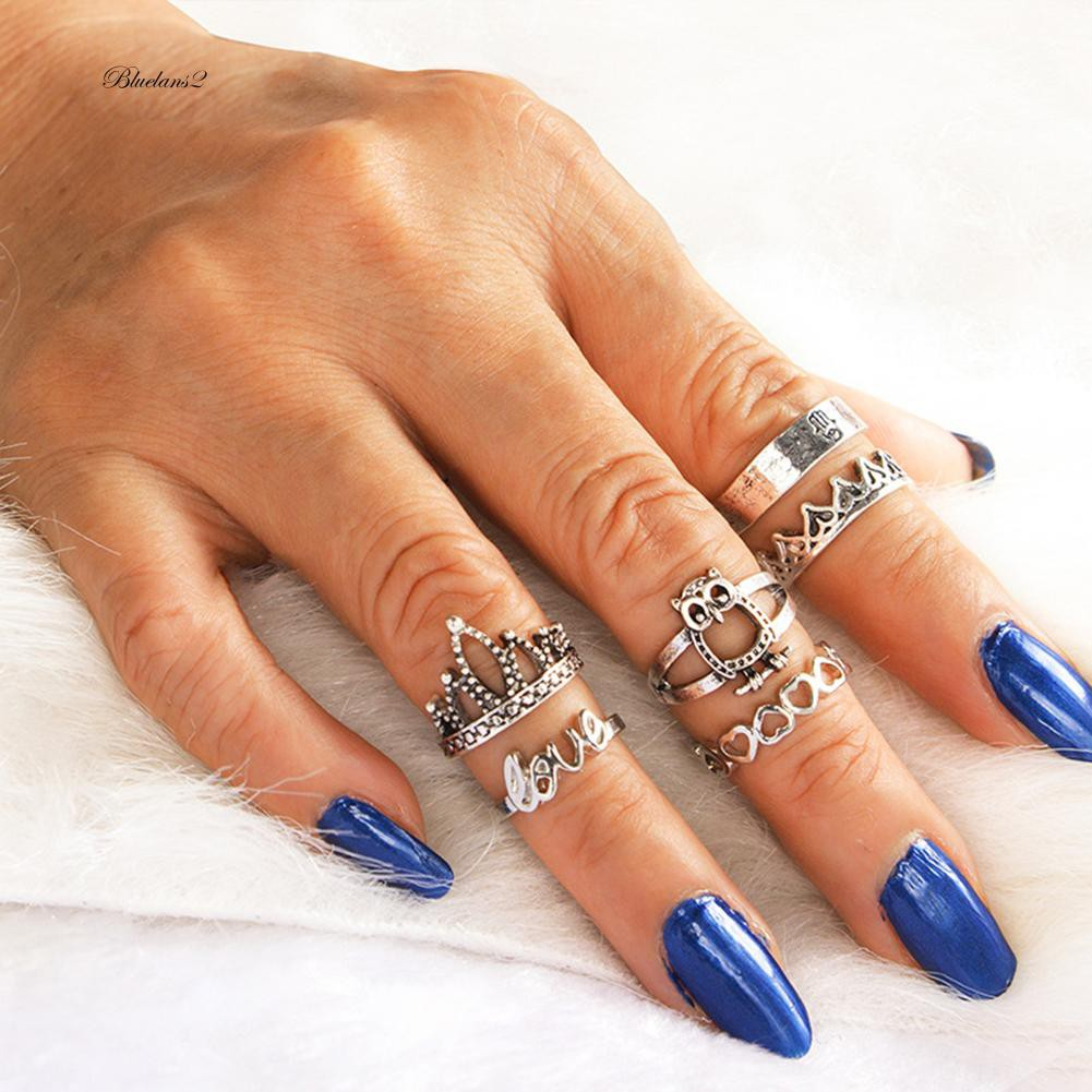 779545438ded1 BLUE2❀Retro 6Pcs Owl Crown Heart Love Women Hollow Stacking Knuckle Midi  Band Ring Set