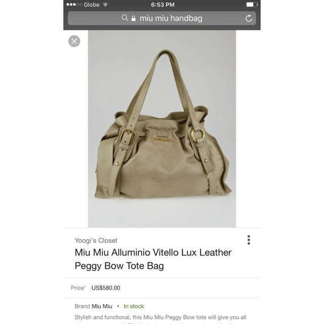 5a028f5c7a95 Authentic Miu Miu Alluminio vitello Lux leather