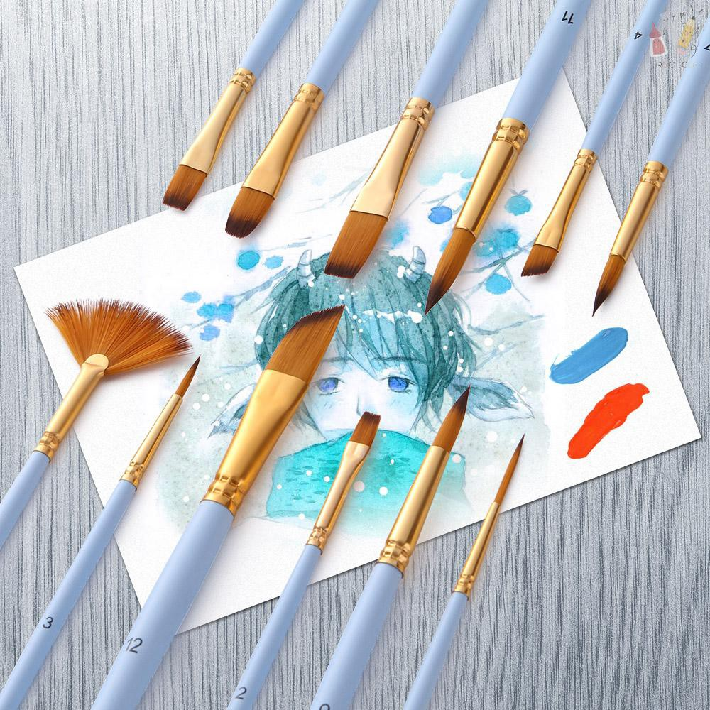 10pc Face Painting Acrylic Watercolour Artist Brush Set Smooth Soft Pointer Flat