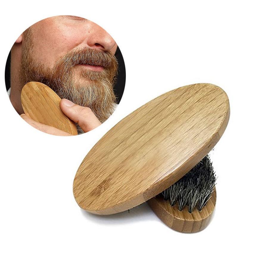 Men Boar Hair Bristle Beard Mustache Brush Hard Round Wood Handle Comb