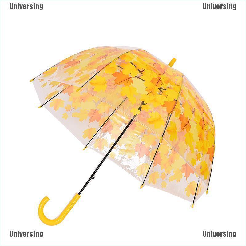 Stick Hook Handle Clear Transparent Dome Autumn Maple Leaf Rain Umbrella 2ES