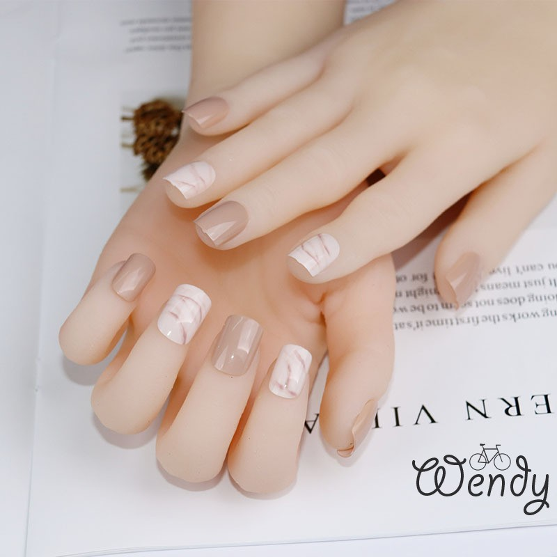 24pcs Fashion Fake Nails Khaki White Pink Marble Square Artificial Nail Tips W